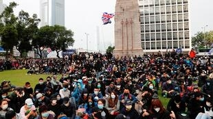 2020年1月19日,香港抗议民众再次集会,呼吁民主改革。