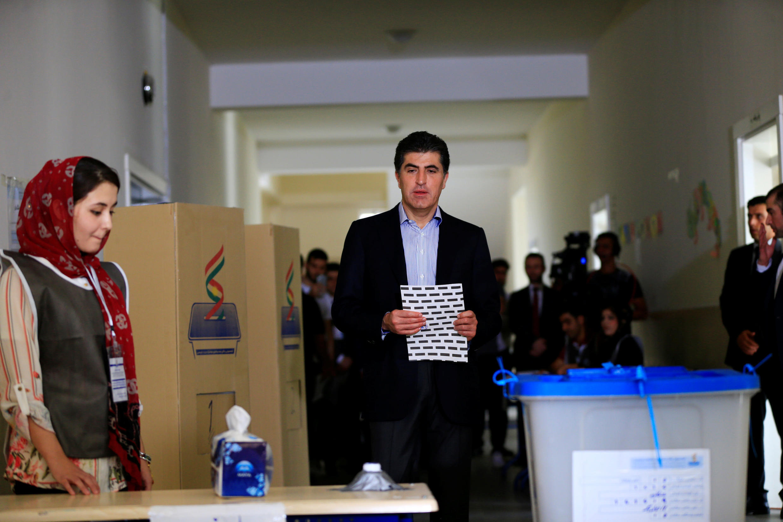 Thủ hiến Kurdistan-Irak, ông Nechirvan Barzani, đi bầu tại thủ phủ Erbil, ngày 30/09/2018