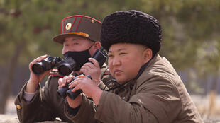 North Korean supreme leader Kim Jung-un inspecting the troops