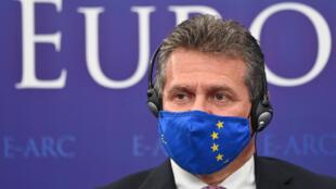 Maros Sefcovic, vicepresidente de la Comisión Europea, asiste a un acto de la OTAN el 31 de mayo de 2021 en Bucarest
