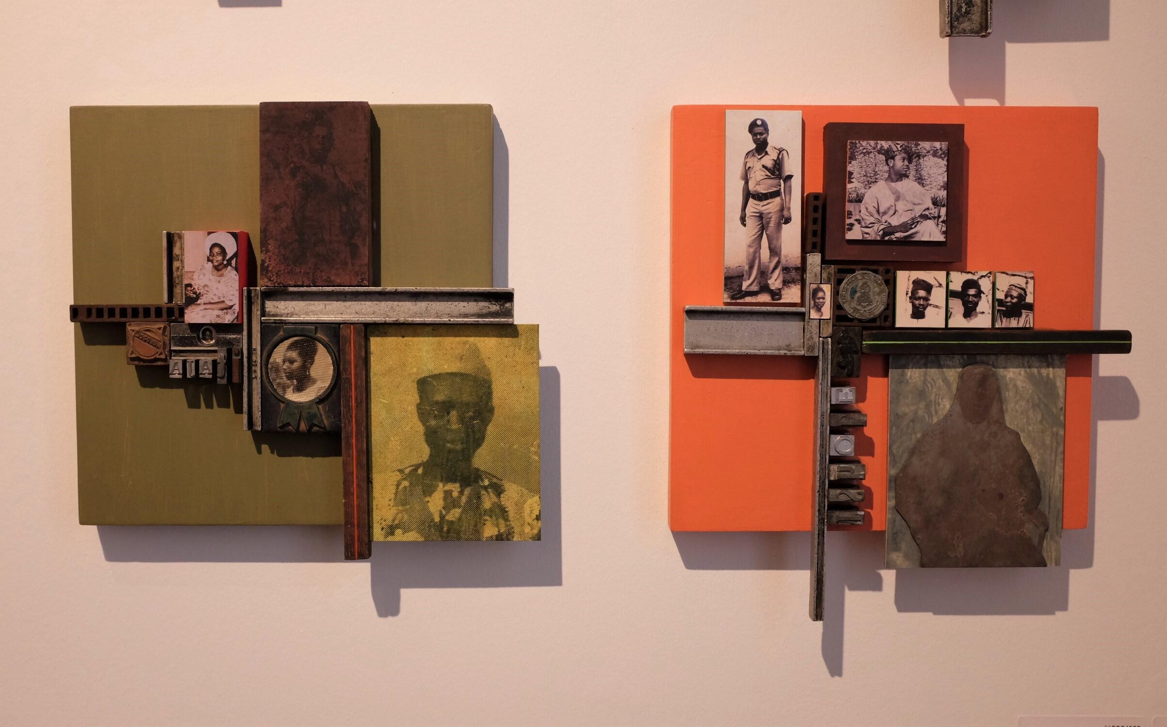 Œuvres de la série « Scrap of Evidence » (2020), de l'artiste nigérian Kelani Abass, présentées par la galerie 31 Project à la foire d'art contemporain africain 1-54 à Paris.  © Siegfried Forster / RFI