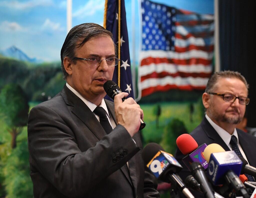 Ngoại trưởng Mêhicô Marcelo Ebrard nói chuyện với báo giới tại El Paso (Texas - Hoa Kỳ) ngày 05/08/2019.