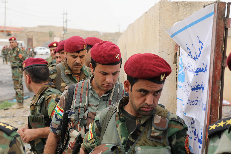 Les combattants peshmergas (ici lors du vote pour l'indépendance de leur région, le 25 septembre 2017) se préparent à une offensive de l'armée irakienne.