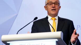 Thủ tướng Úc Malcolm Turnbull phát biểu tại Diễn Đàn An Ninh Châu Á - Shangri-La Dialogue - ở Singapore, ngày 02/06/2017.