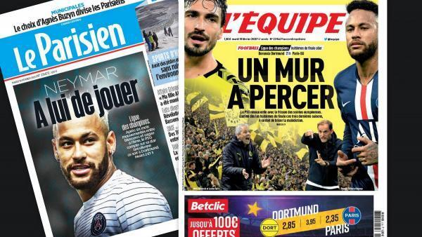 Destaque na imprensa para o duelo entre o PSG de Neymar e Dortmund nas oitavas de final da liga dos campeões.