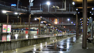 Empty RER station at night
