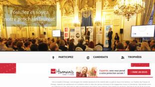 Page d'accueil du site qui permet l'inscription des candidats pour l'édition 2017 des Trophées des Français de l'étranger.