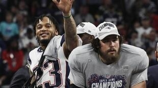 New England Patriots' Patrick Chung celebrates winning the Super Bowl LIII over the Los Angeles Rams, 3 February, 2019.