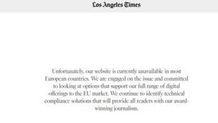Captura de pantalla de mensaje del LA Times.