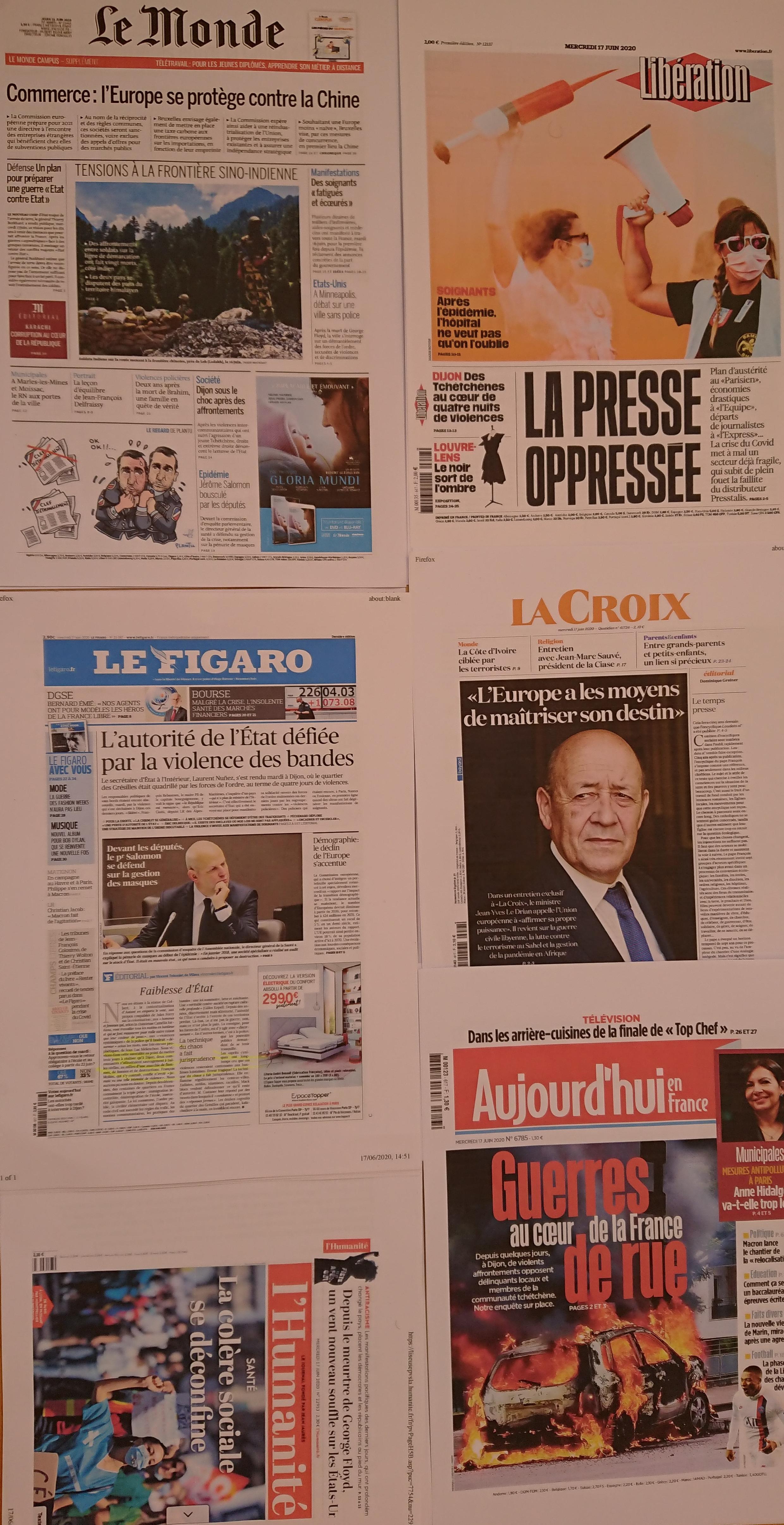 Primeiras páginas  de  diários franceses  17 06 2020