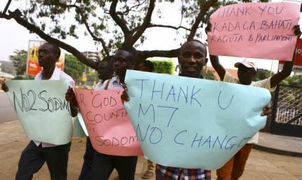 Manifestation contre la répression de  l'homosexualité en Ouganda 24 février 2014