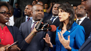US UN ambassador Nikky Haley with DRC electoral commission chief Corneille Nangaa on Friday