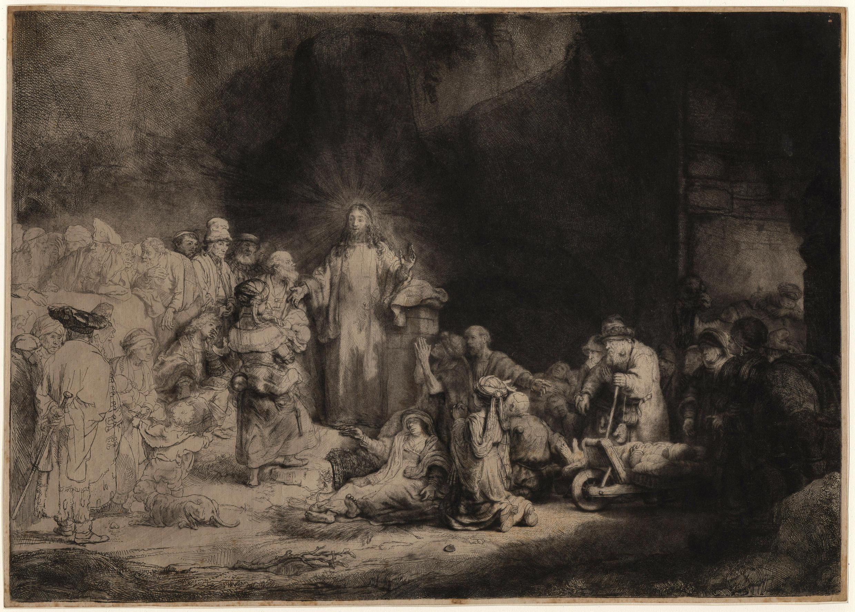 Dibujo representando a Jesús sanando a los enfermos, Rembrandt, hacia 1648.