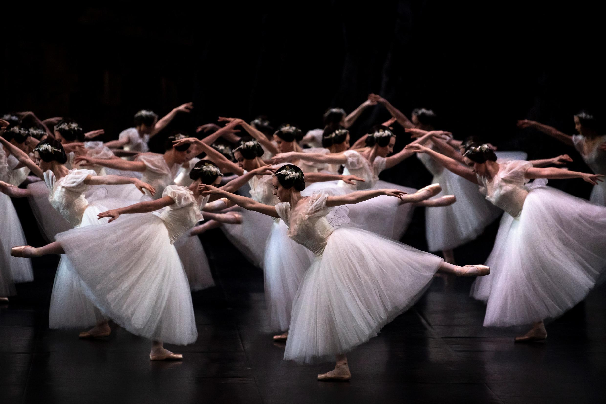 """Paris Opera dancers perform at the Palais Garnier during a dress rehearsal of """"Giselle"""" in January last year."""