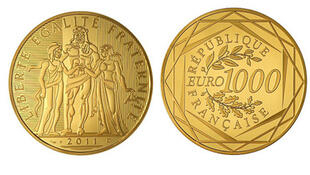 The new 1,000-euro coin will be made of 20 grams of pure gold.
