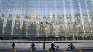 Fachada de los grandes almacenes La Samaritaine después de su renovación, el 8 de abril de 2021 en París