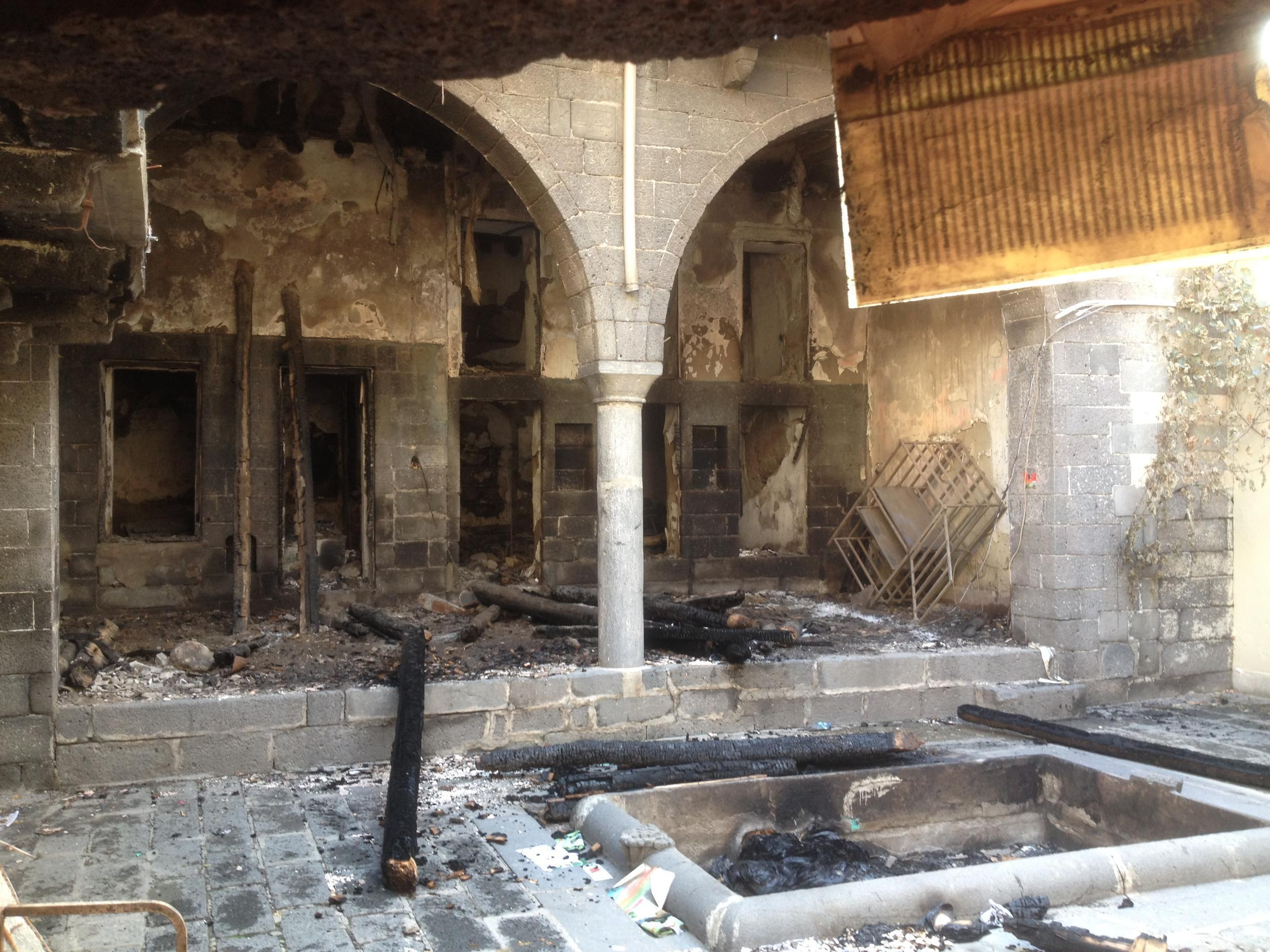 The building where Kurds declared an assembly destroyed in the military offensive.