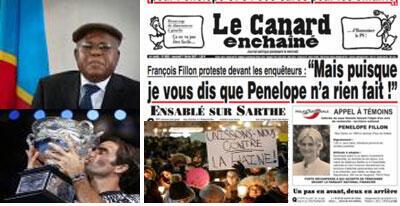 Affaire Fillon-Etienne Tshisekedi-Roger Fédérer-Attentat terroriste au Quebec.