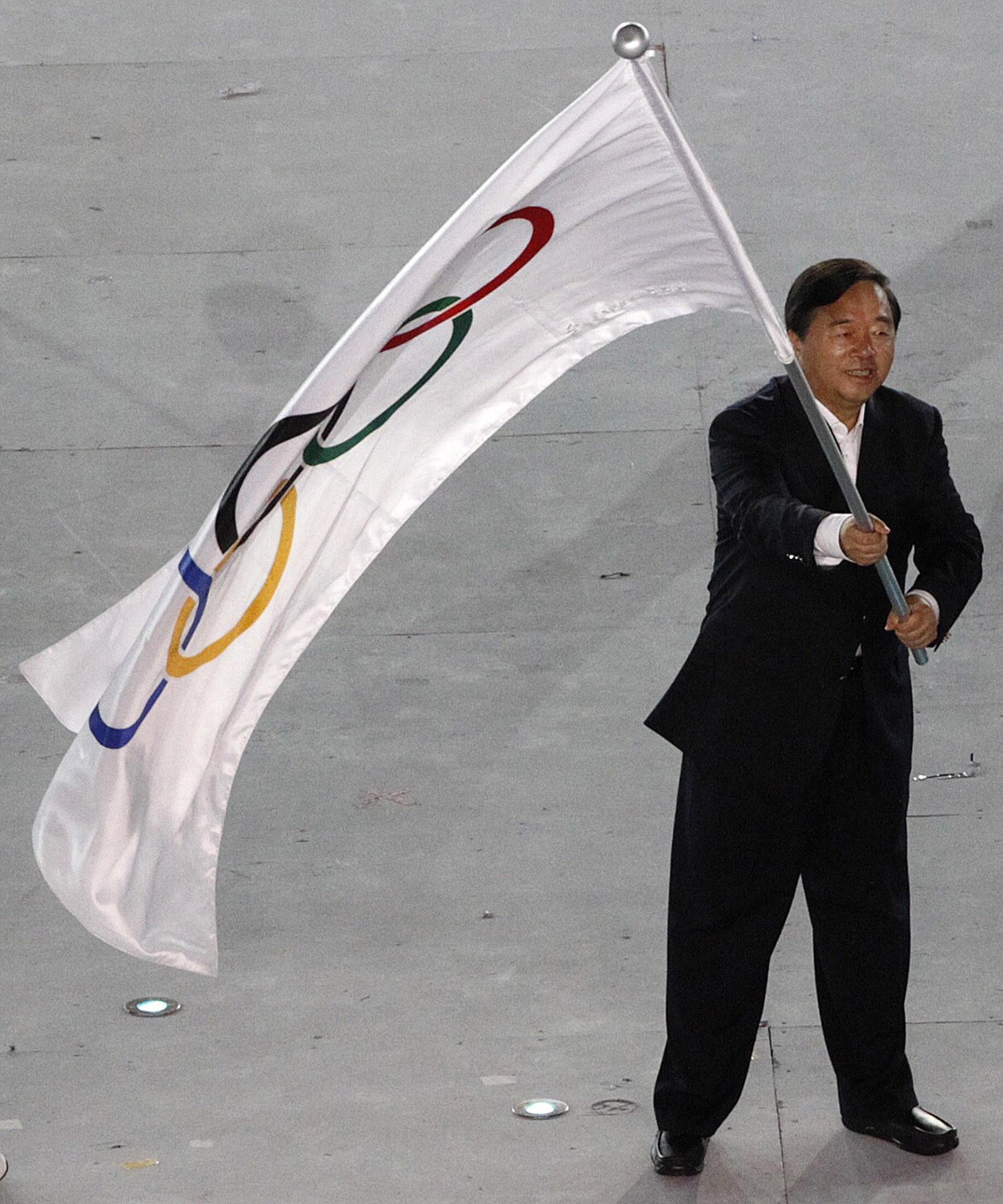 Thị trưởng Nam Kinh Quý Kiến Nghiệp  trong lần tham dự  Đại hội thể thao trẻ 2010 tại Singapore - REUTERS /Issei Kato