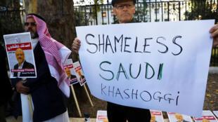 Акция протеста против убийства Джамаля Хашогджи перед посольством Саудовской Аравии в Лондоне, 26 октября 2018 года