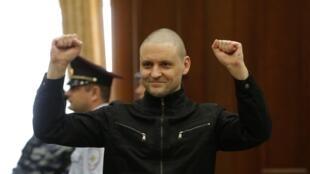 Сергей Удальцов перед оглашением приговора, Москва, 24 июля 2014 г.