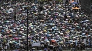 香港人7月1日冒雨游行