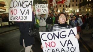 Manifestación de apoyo a los opositores al proyecto Conga, 4 de julio de 2012 en Lima.