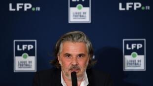 Le président de la Ligue (LFP), Vincent Labrune, lors d'un point presse à Paris, le 10 septembre 2020