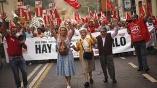 Les Espagnols ne supportent plus la politique d'austérité. Dimanche 7 octobre à Malaga.