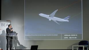 Alain Bouillard, investigator-in-charge presents the BEA final report in the Air France Rio-Paris crash in Le Bourget, 5 July, 2012.