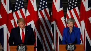 Primeira-ministra britânica, Theresa May recebe em Londres, presidente americano, Trump London, Britain, June 4, 2019.