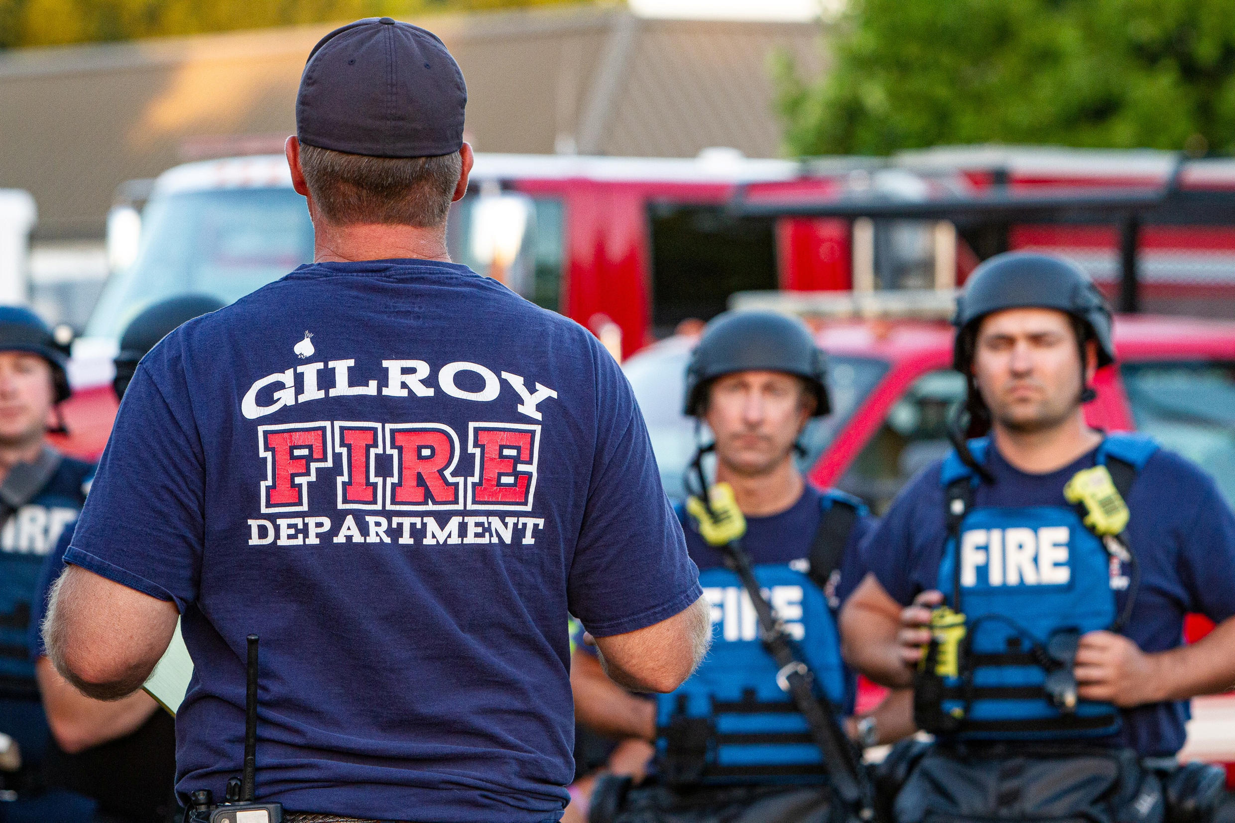 Emergency teams on the spot after the shooting at the Gilroy Garlic Festival, 28 July 2019.