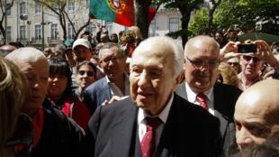 Mário Soares na festa dos 40 anos da Revolução dos Cravos, em 2014.