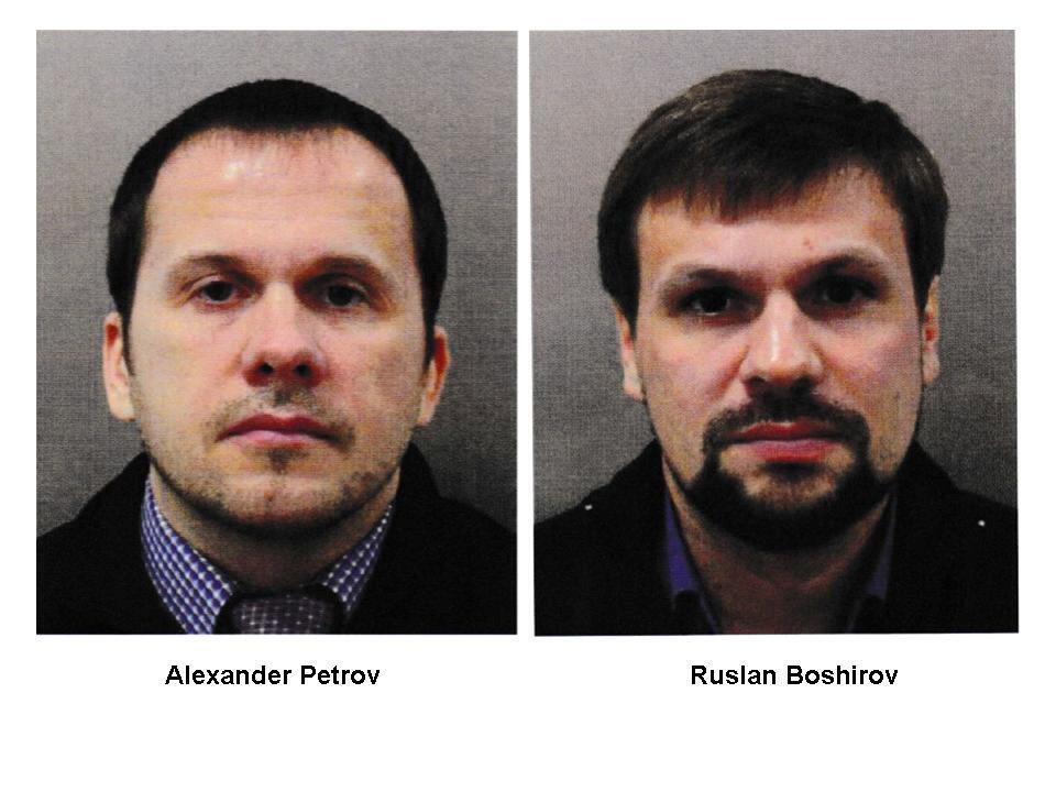 Os 2 russos, Alexander Petrov e Ruslan Boshirov, acusados de terem tentado assassinar, em Salisbúrdia, o ex-agente duplo, Sergei Skripal e filha