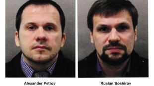 Hai nghi can Alexander Petrov và Ruslan Boshirov, được cho là đã phun chất độc Novitchok vào cửa nhà cựu điệp viên Skripal.