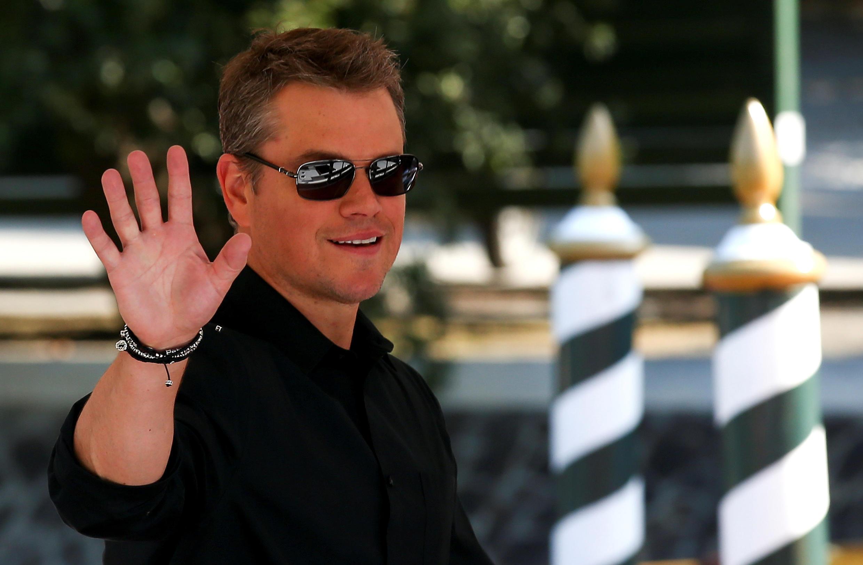 O ator Matt Damon chega ao 74° Festival de Cinema de Veneza em 30 de agosto de 2017.
