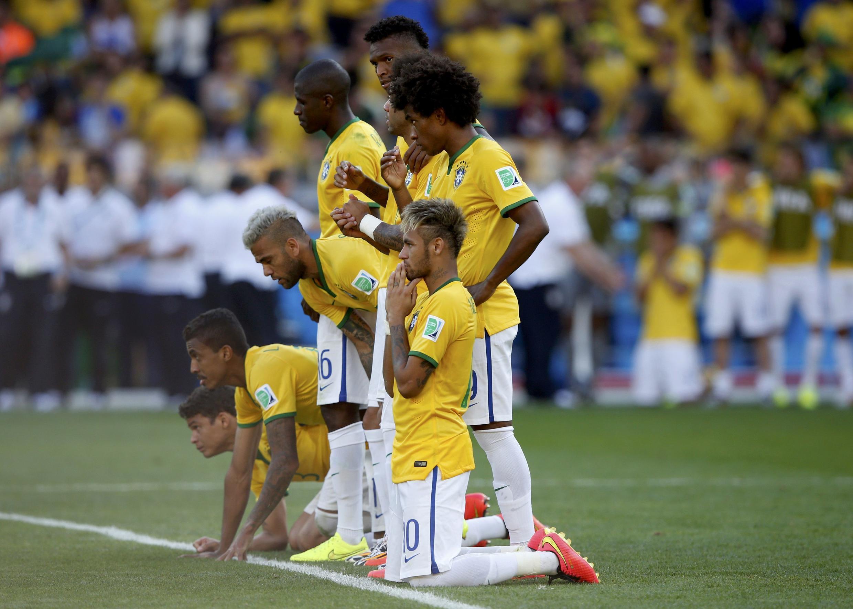 Cầu thủ Brazil cực kỳ căng thẳng trong hiệp đá penalty để vào vòng tứ kết, ngày  28/06/2014.