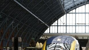 Eurostar's new train at St Pancras station in London, 13 November 2014.