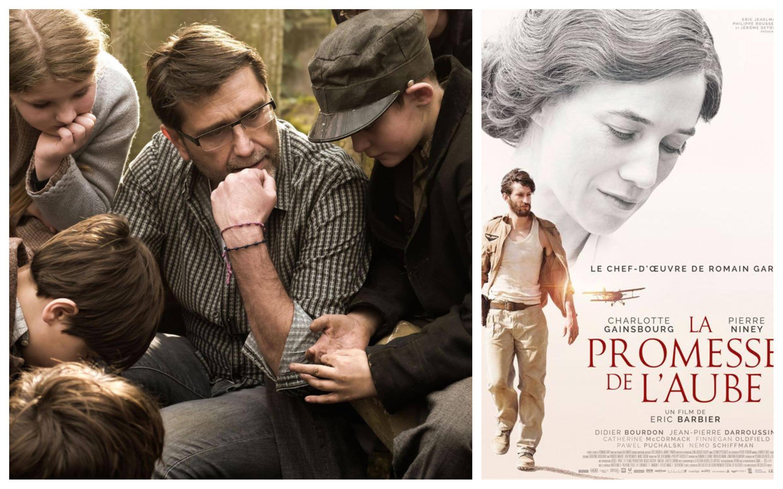 A gauche, Eric Barbier sur le tournage du film. A droite, affiche officielle de La Promesse de l'aube.