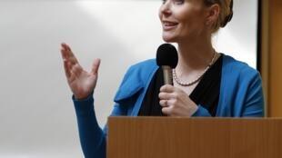 Thora Arnorsdottir lors du débat préélectoral du 13 juin 2012 à Reykjavik.