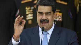 Tổng thống Venezuela Nicolas Maduro trong một cuộc họp báo tại Caracas, hồi tháng Ba 2020.