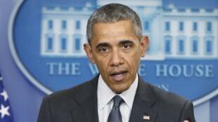Rais wa Marekani Barack Obama wakati wa mkutano na waandishi wa habari  katika Ikulu ya White House, Aprili 5,2016.
