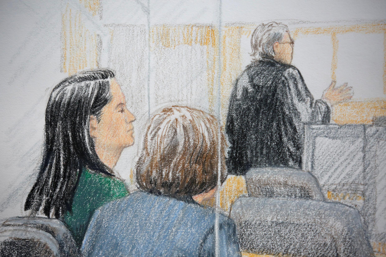 华为集团财务总管孟晓舟2018年12月7日在加拿大温哥华最高法院出席申请保释听证会。