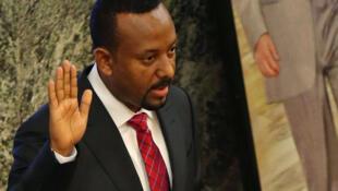 Abiy Ahmed, lors de sa prestation de serment, lundi 2 avril 2018, devant le Parlement, à Addis-Abeba.
