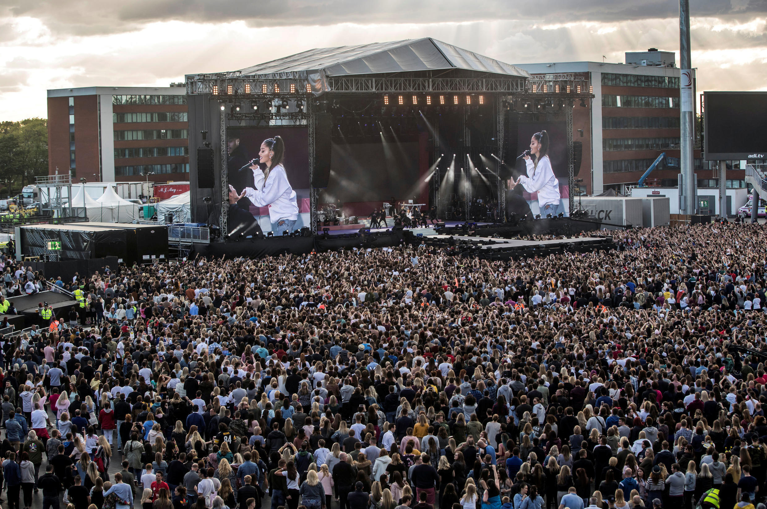 Ariana Grande performs during the One Love Manchester benefit concert for the victims of the Manchester Arena terror attack at Emirates Old Trafford, June 4, 2017