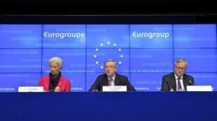 A presidente do Fundo Monetário Internacional (FMI), Christine Lagarde e o presidente do grupo de ministros das Finanças da zona do euro, Jean-Claude Juncker.