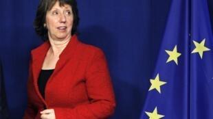 Catherine Ashton, durante a reunião de Ministros de Relações Exteriores em Bruxelas do dia primeiro de dezembro de 2011.