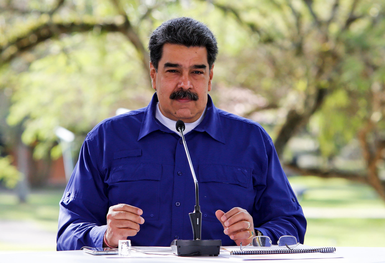 Nicolás Maduro da un mensaje televisado desde el palacio presidencial de Miraflores, el 21 de marzo de 2021 en Caracas