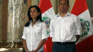 Nadine Heredia e Ollanta Humala durante cerimônia em Lima.