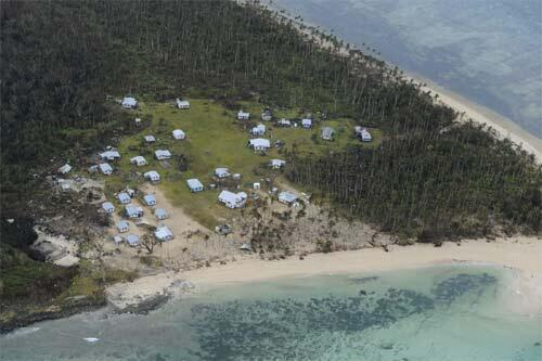 A Fijian coastal village damaged by Cyclone Tomas